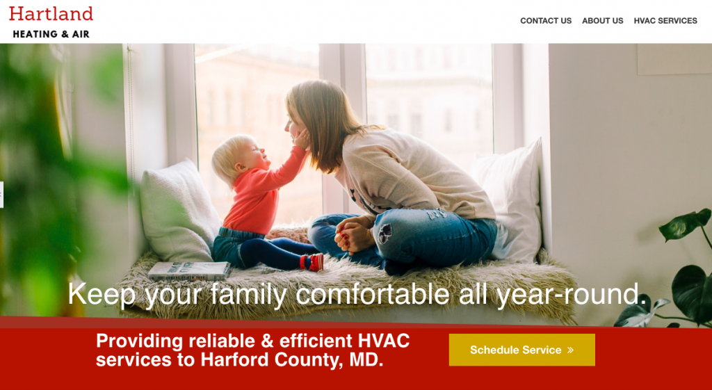 home page for a new web page for a local HVAC contractor in Bel Air, MD